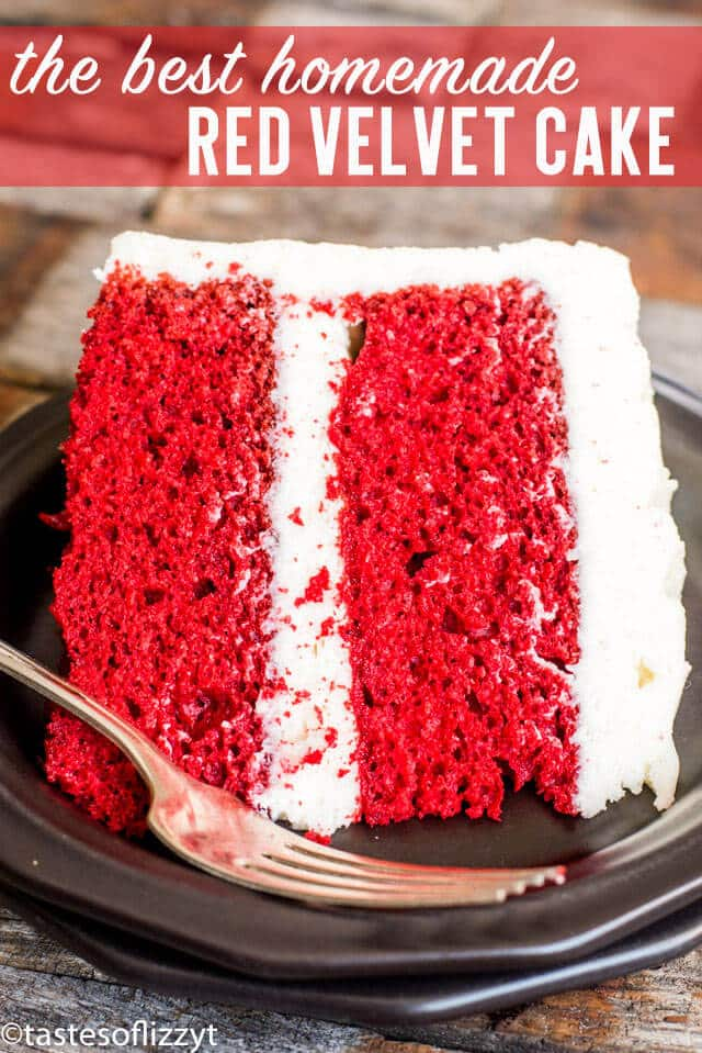 Bright and vibrant in color, this homemade red velvet cake recipe is rich and moist with a tender crumb. Top with cooked frosting for a simple, lightly sweet flavor! #cake #redvelvet #dessert #cookedfrosting #frosting