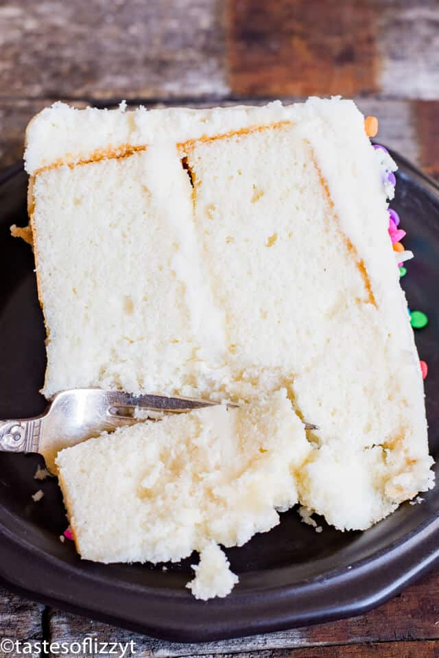 White Cake Recipe From Scratch {Soft Fluffy Vanilla Cake Recipe}