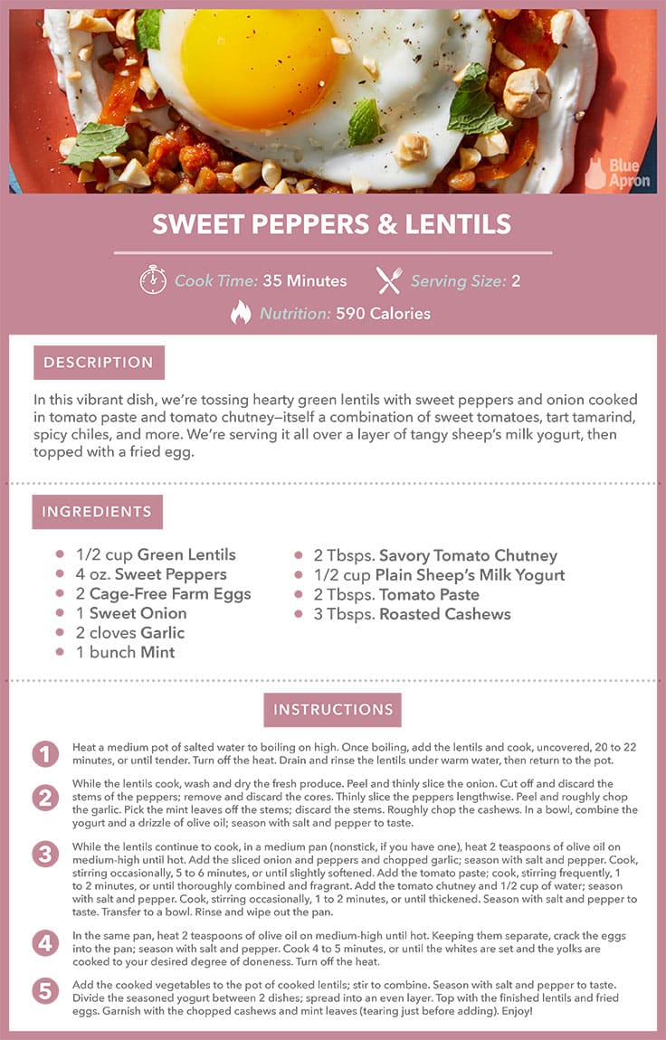 sweet peppers and lentils recipe