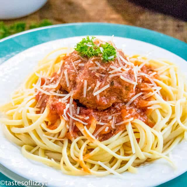 A bowl of pasta sits on a plate, with Meatball and Spaghetti