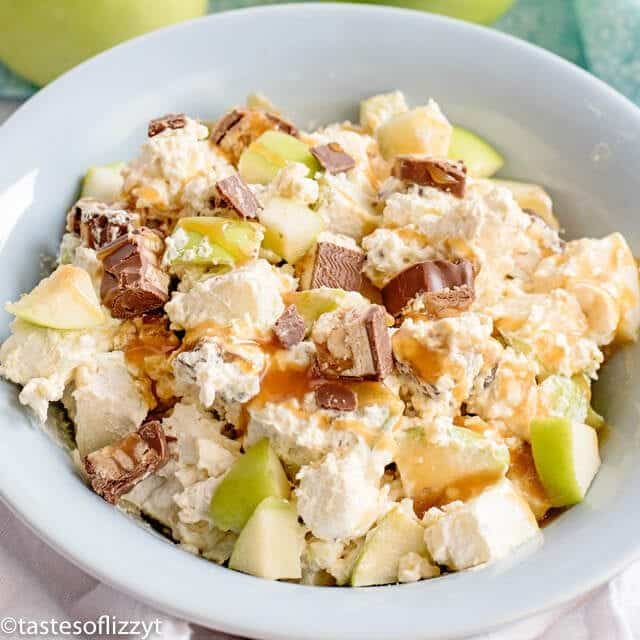 Snickers apple salad in a bowl