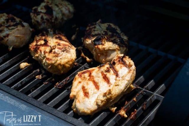 Food on a grill, with Chicken and Barbecue