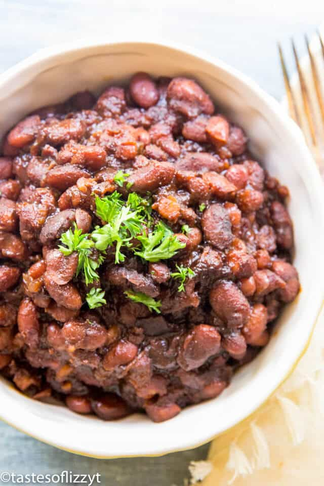 A close up of a plate of food, with Baked beans