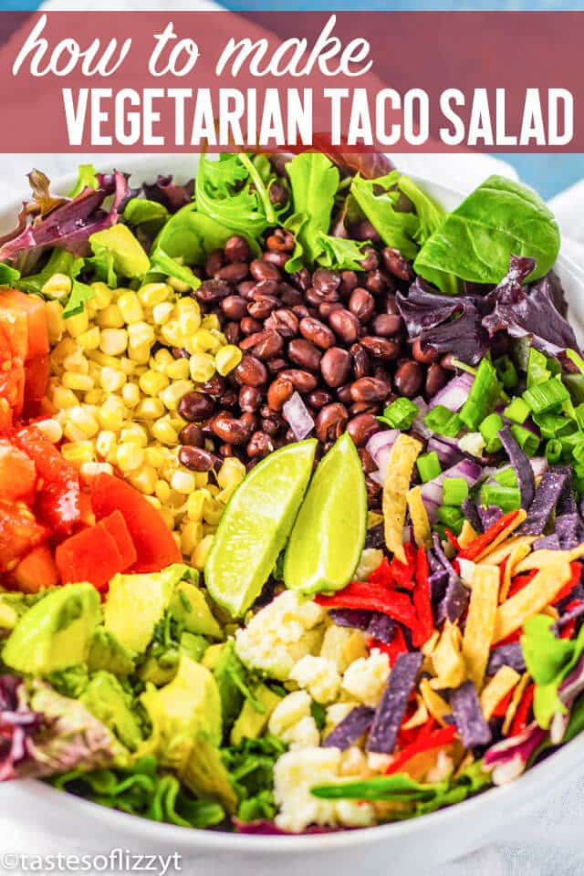 Colorful and bright, this fresh Vegetarian Taco Salad has all of your favorite vegetables and taco ingredients. Drizzle the salad with a creamy homemade avocado lime dressing.
