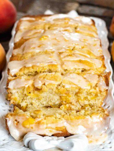 loaf of glazed peach bread