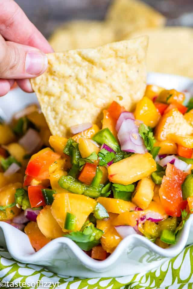 A close up of a person holding a plate of food, with Peach and Salsa