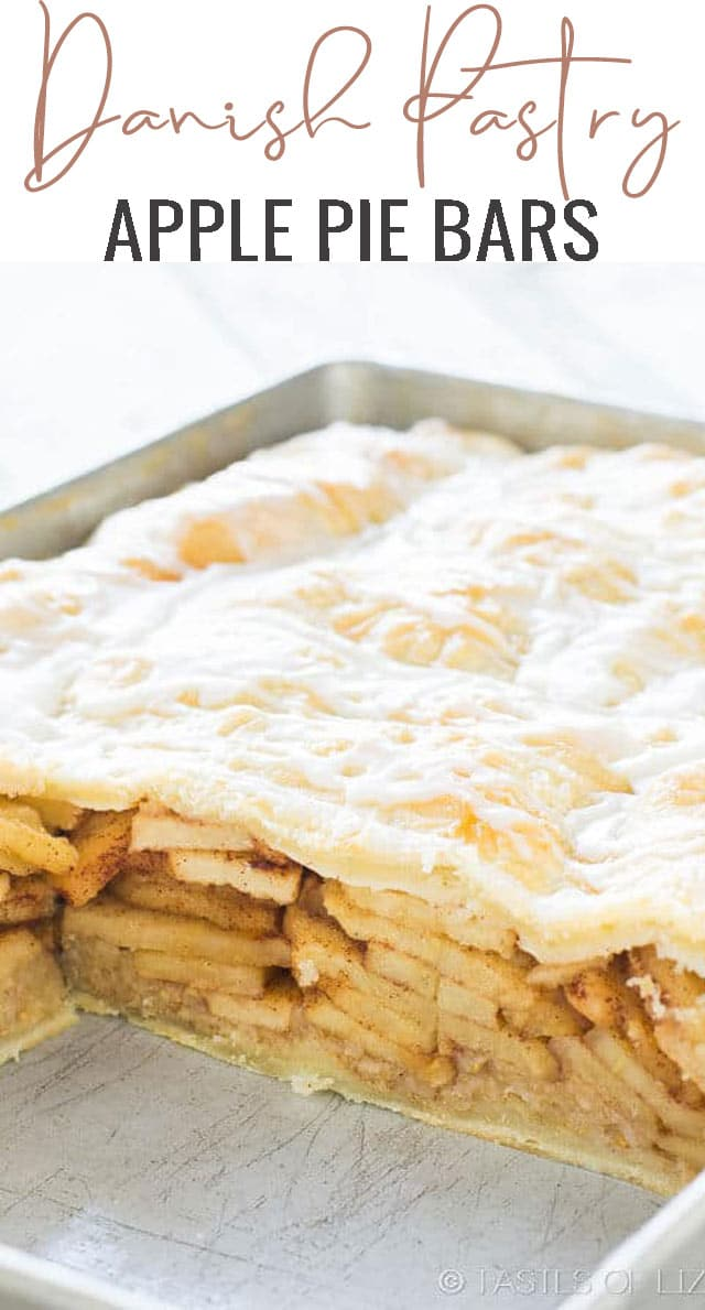 apple pie bars in a baking pan