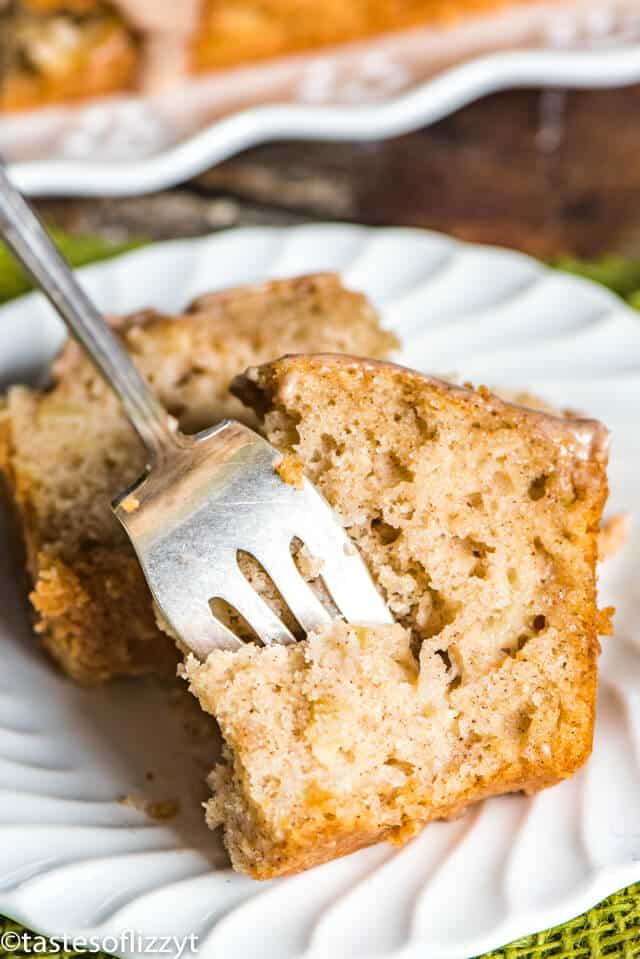 slice of apple bread on a plate