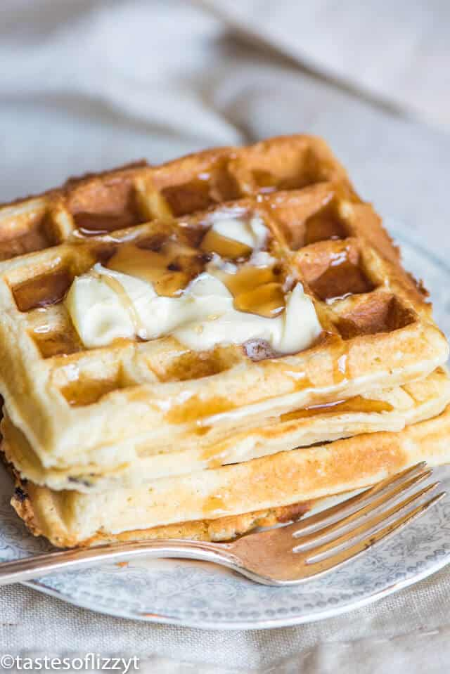stack of buttery belgian waffles