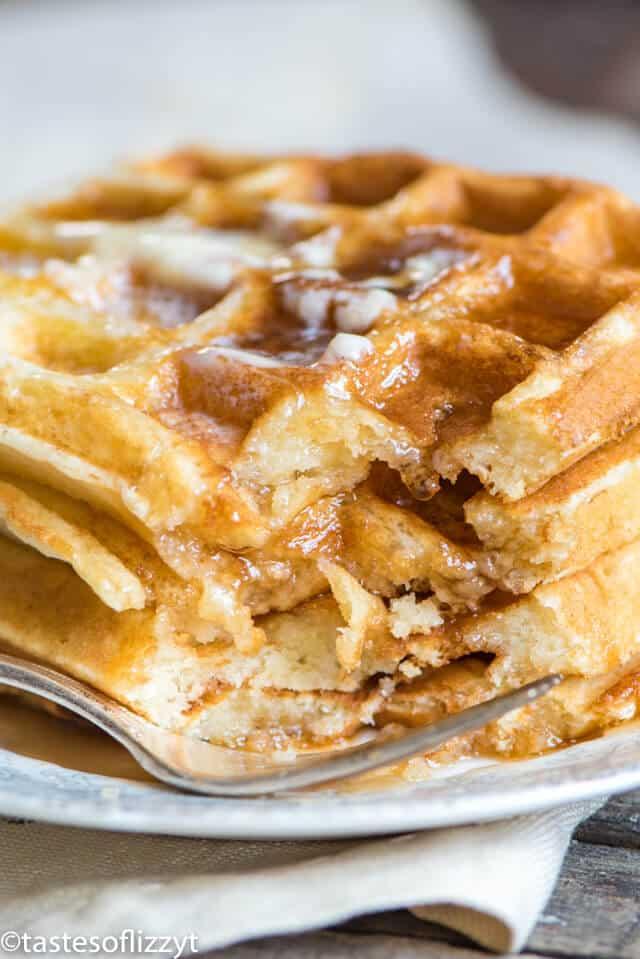A close up of Belgian waffle