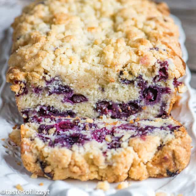 Blueberry Bread with one slice cut