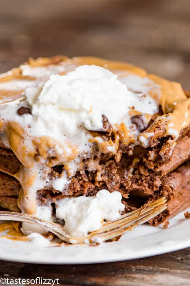 stack of chocolate waffles with bite out