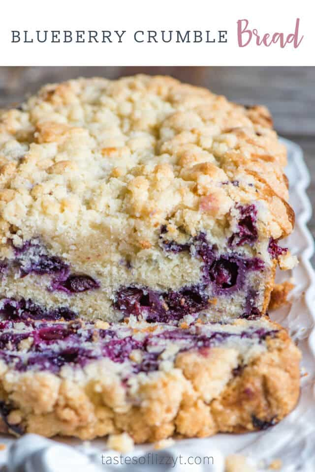 A close up of blueberry bread