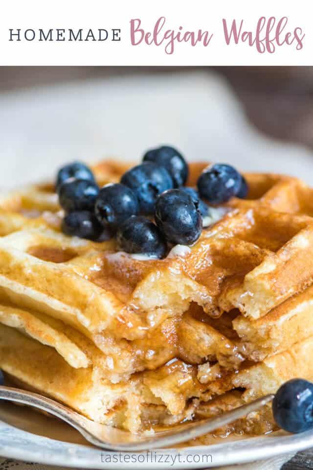 Belgian waffle on a plate