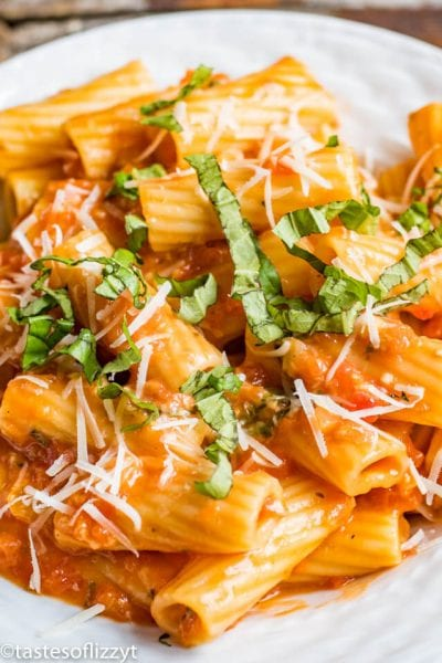 Rigatoni with Tomato Parmesan Sauce