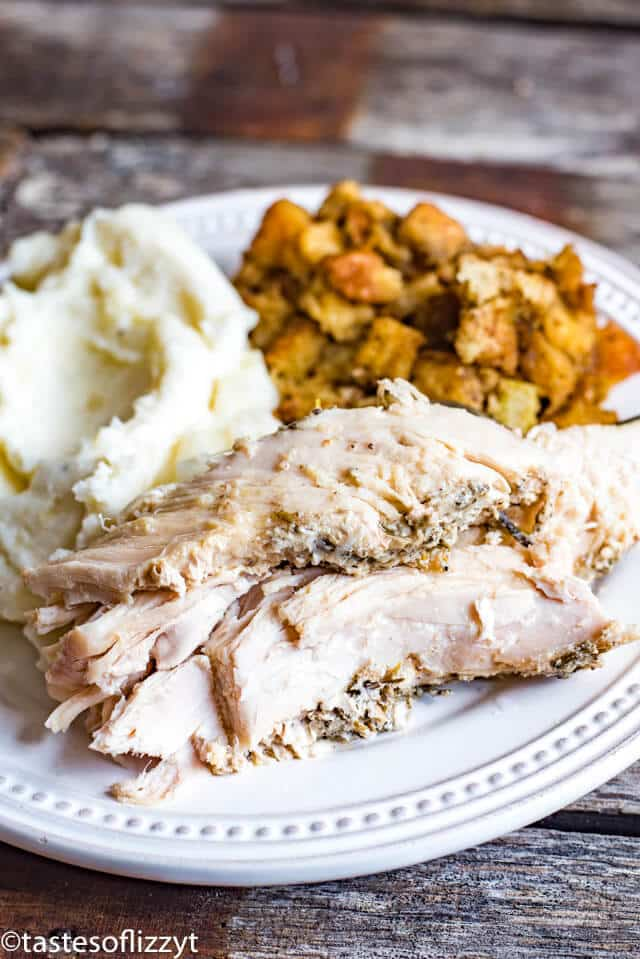 A plate of food, with turkey, potatoes and stuffing