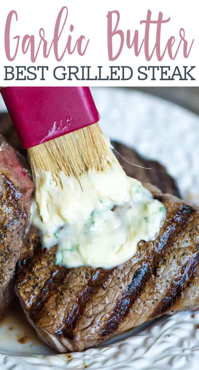 butter brushing on grilled steak