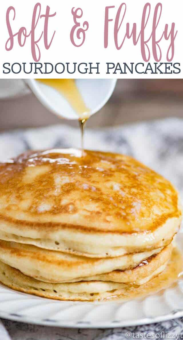 Sourdough gives these Sourdough pancakes a delicious flavor and fluffy texture that you'll fall in love with! These will quickly become your family's favorite breakfast. via @tastesoflizzyt