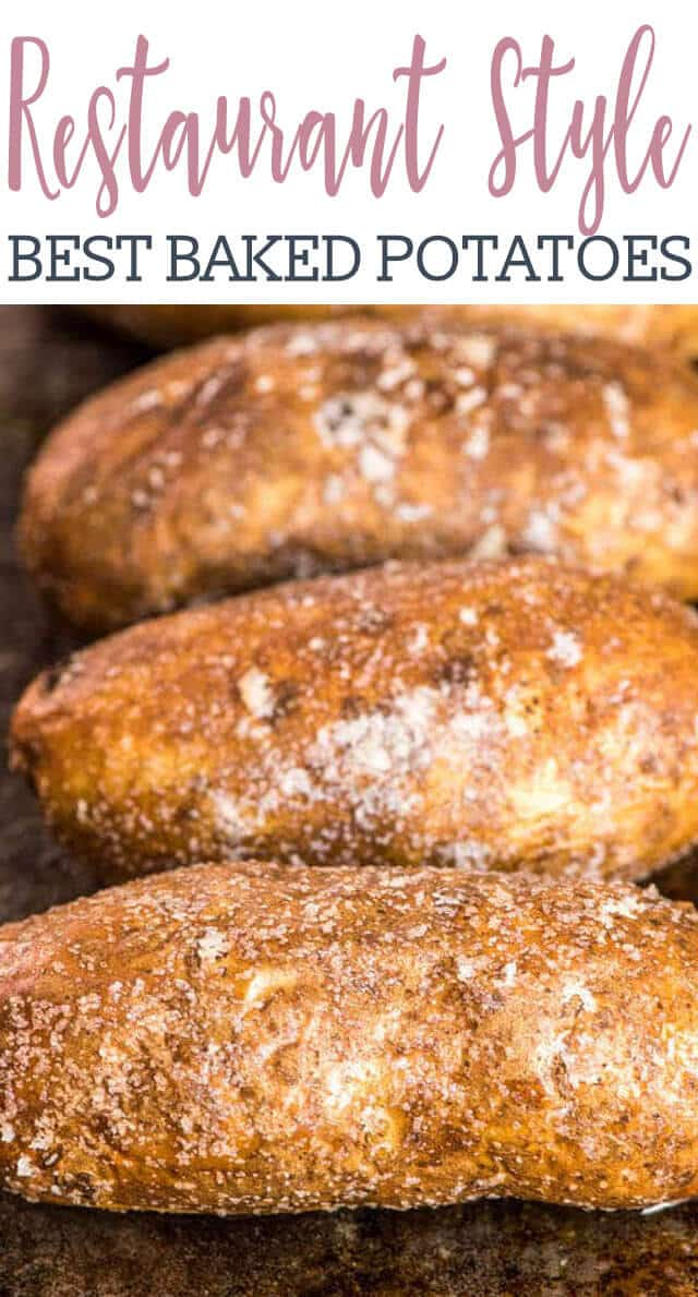 Wondering how restaurants get those perfectly baked potatoes? Here's the hints on how to make the best oven baked potatoes with salty, crispy skin and fluffy potato inside. #bakedpotatoes #potatoes #potato #copycat via @tastesoflizzyt