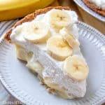 banana cream pie with fresh banana slices on top