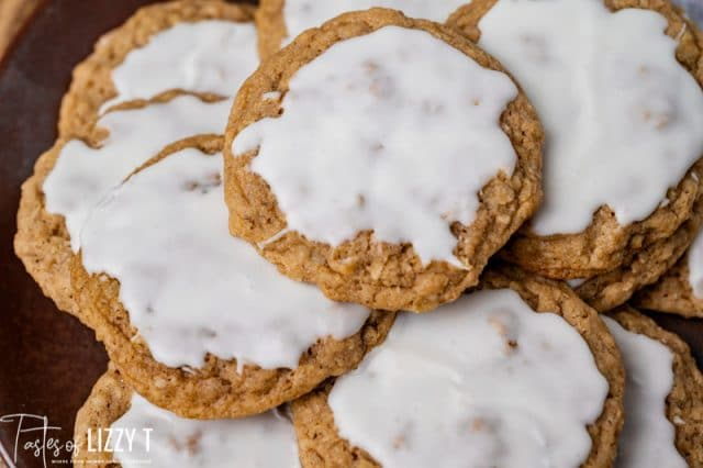 stack of iced oatmeal cookies