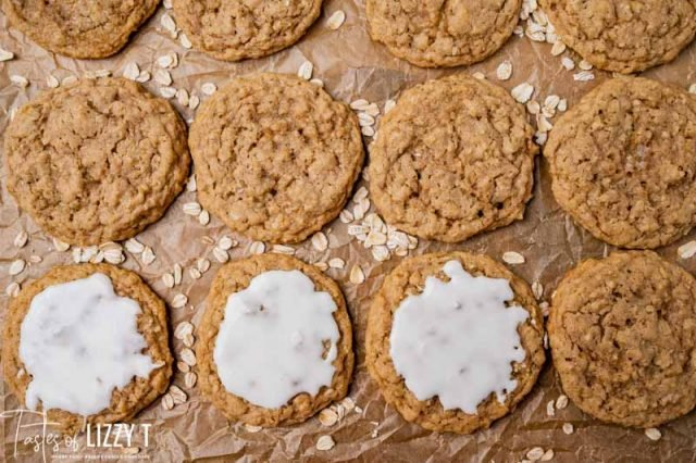 oatmeal cookies on parchment paper with icing