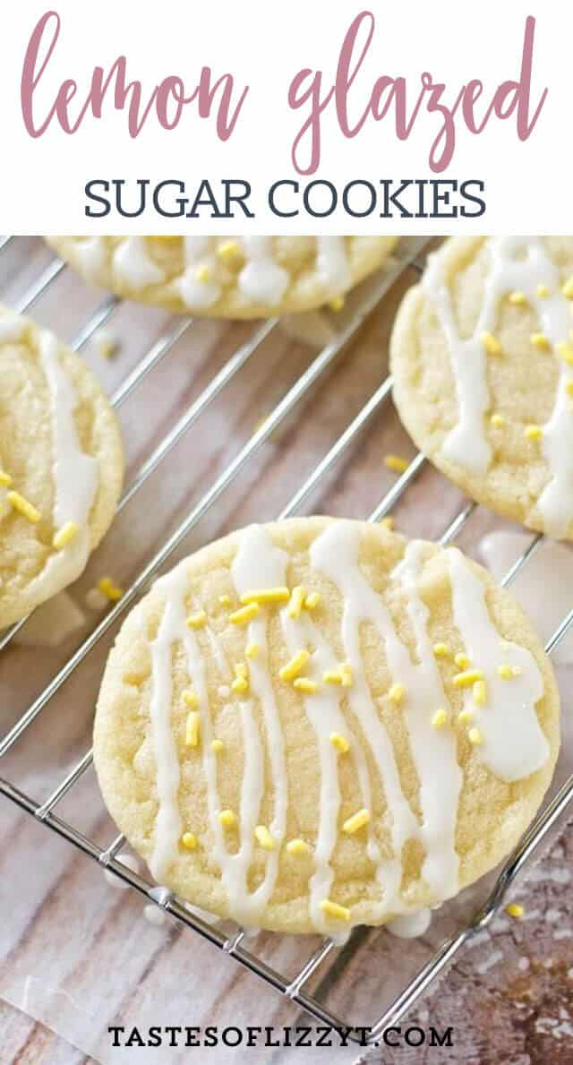 Light, tangy, crisp on the outside, chewy on the inside, soft lemon sugar cookies with a lemon glaze drizzle. Better than a bakery!