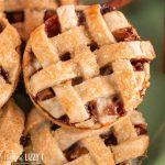 closeup of lattice top mini apple pie