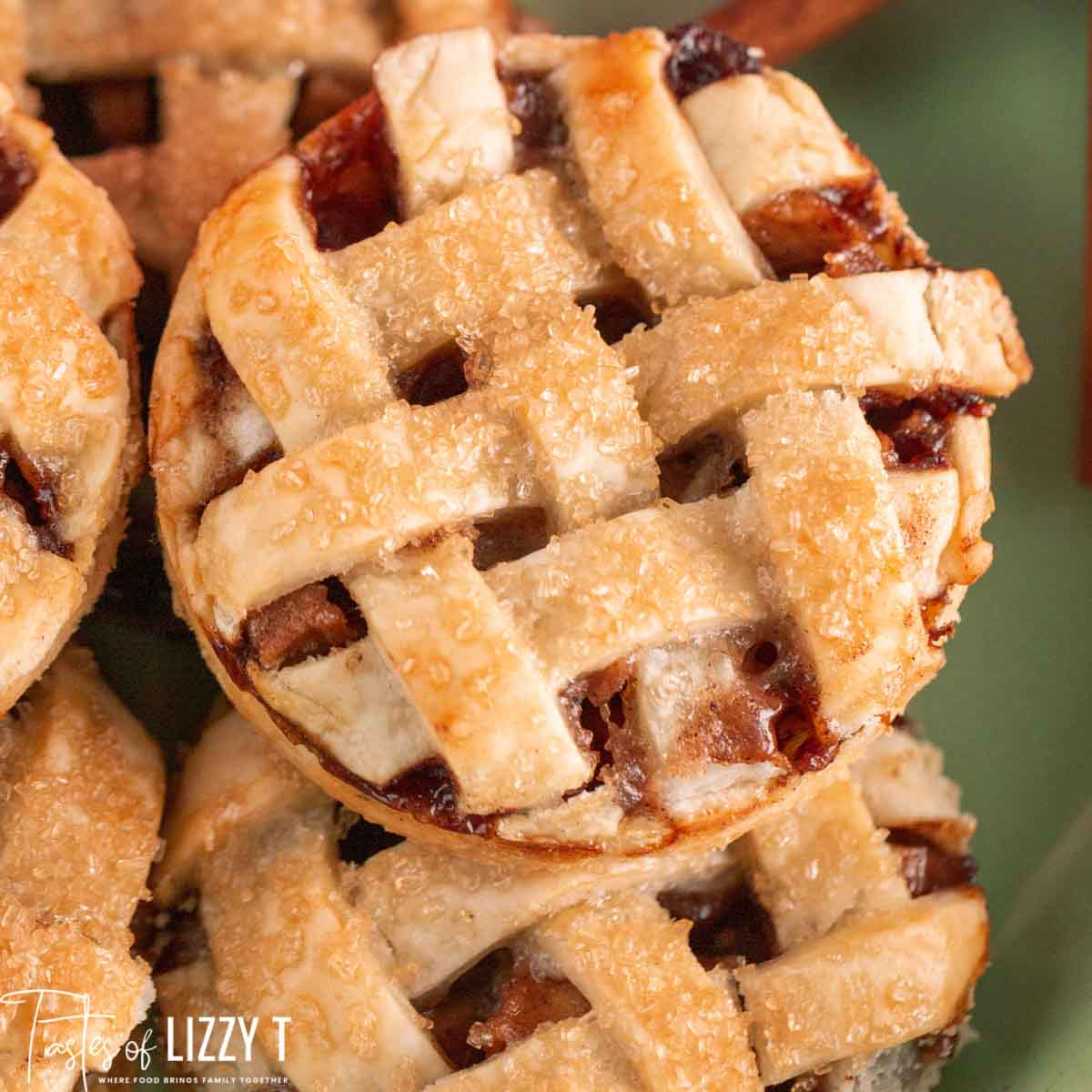 closeup of lattice top mini apple pie