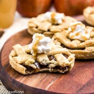 mini apple pie on a wooden board