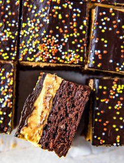three layer pumpkin cheesecake brownies