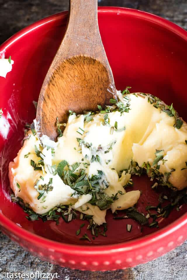 A bowl of food, with Butter and Herb
