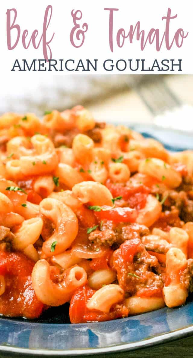 Have dinner on the table in about 30 minutes with this easy American goulash. This beefy macaroni is loaded with diced tomatoes and tomato sauce....then topped with cheese. #goulash #cheese #beef #macaroni #hamburgerhelper via @tastesoflizzyt