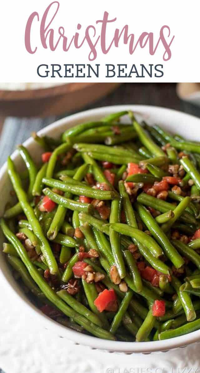 christmas green beans are dressed up with pimentos and chopped pecans that are caramelized in butter