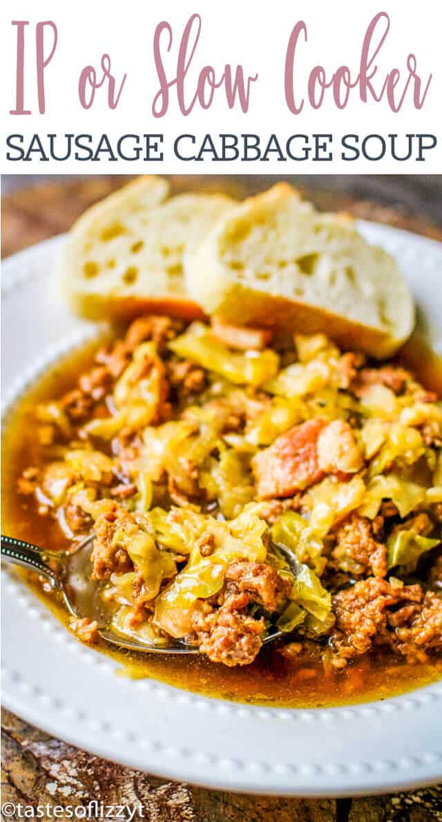 closeup of sausage cabbage soup title image