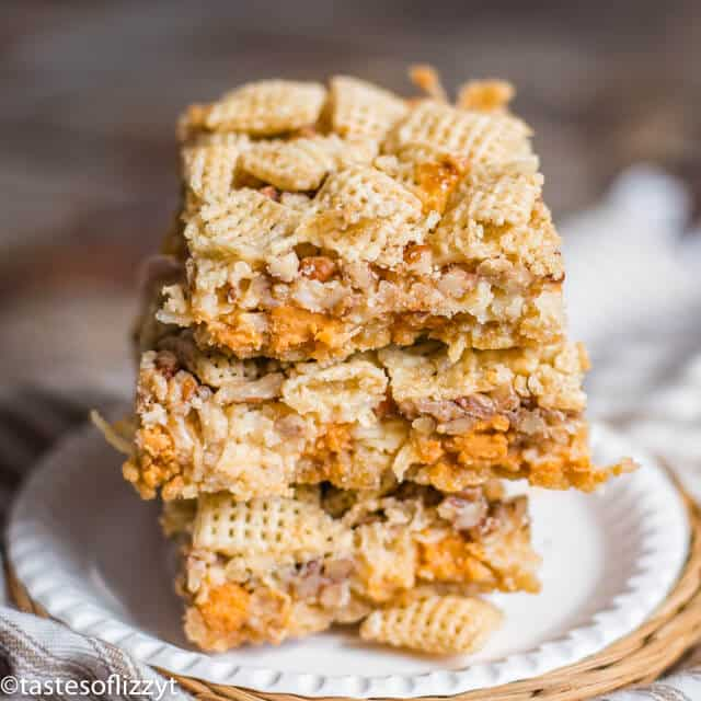 butterscotch cereal bars on a plate