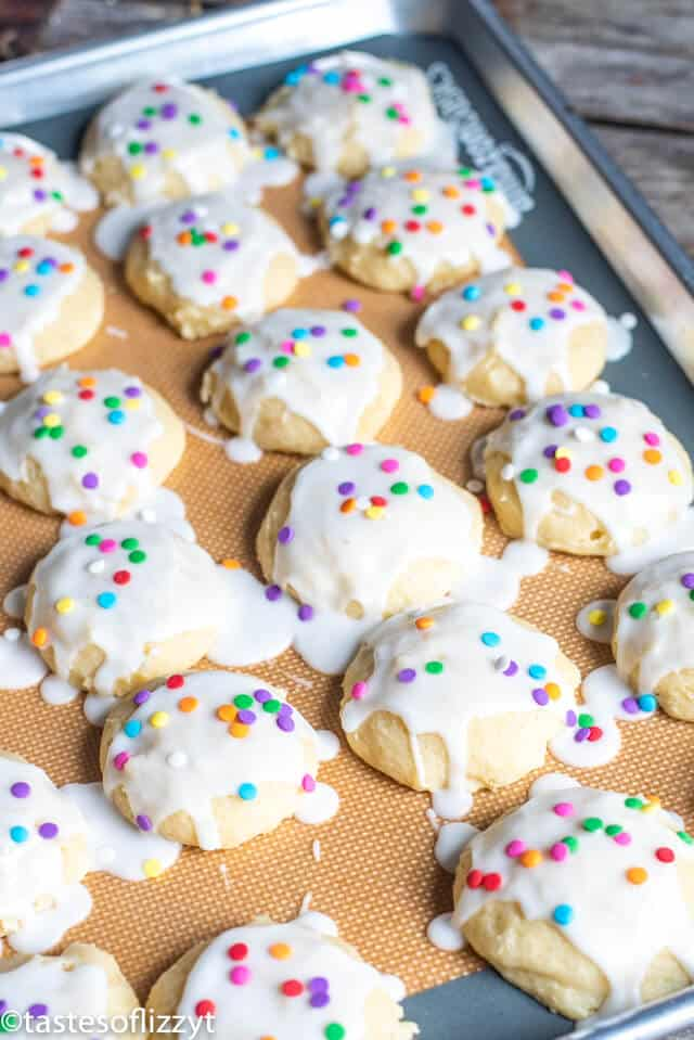 ricotta cookies on a baking sheet