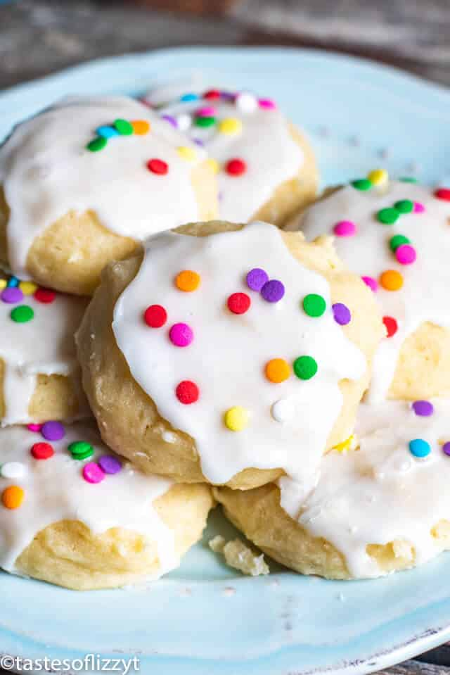 italian ricotta cookies with glaze and sprinkles