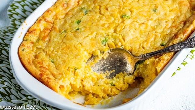 corn casserole in a baking pan