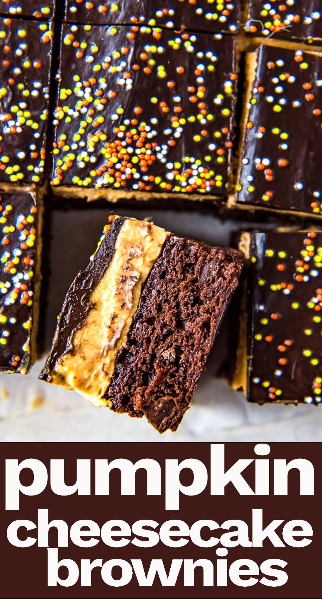 Three layer Pumpkin Cheesecake Brownies are the perfect Halloween treat. Easy brownies and a cream cheese pumpkin layer topped with chocolate. via @tastesoflizzyt