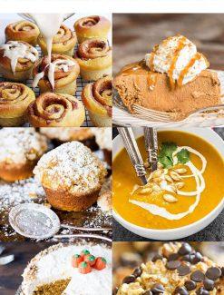 collage of pumpkin desserts