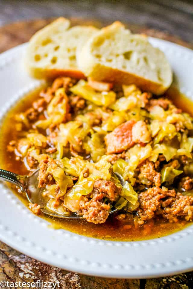 slow cooker sausage cabbage soup in a bowl
