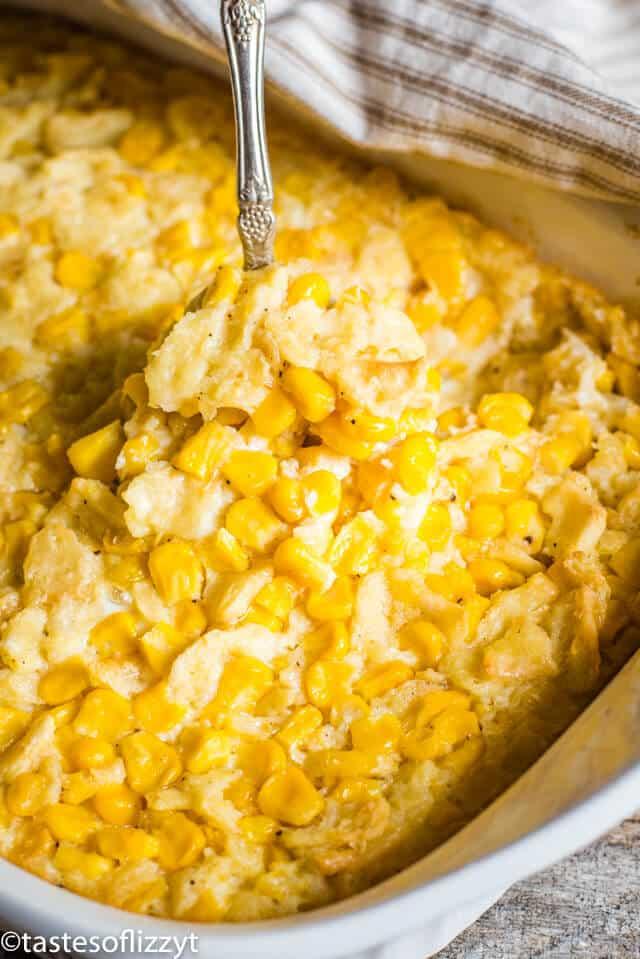 scalloped corn in a casserole dish