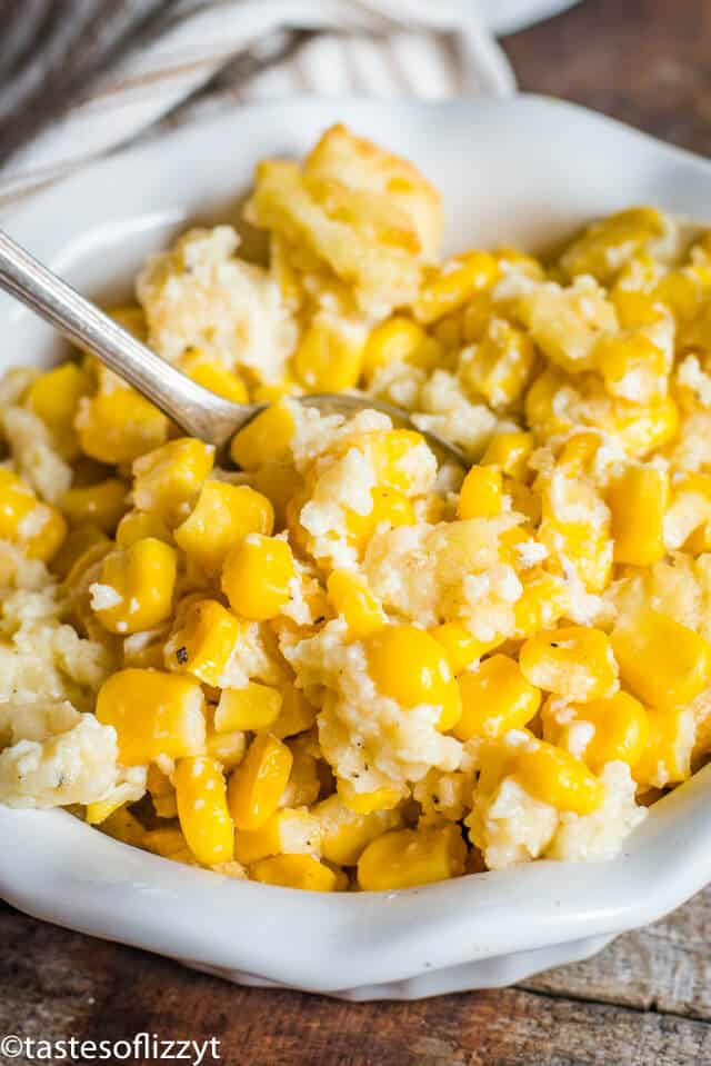 scalloped corn with saltine crackers in a bowl