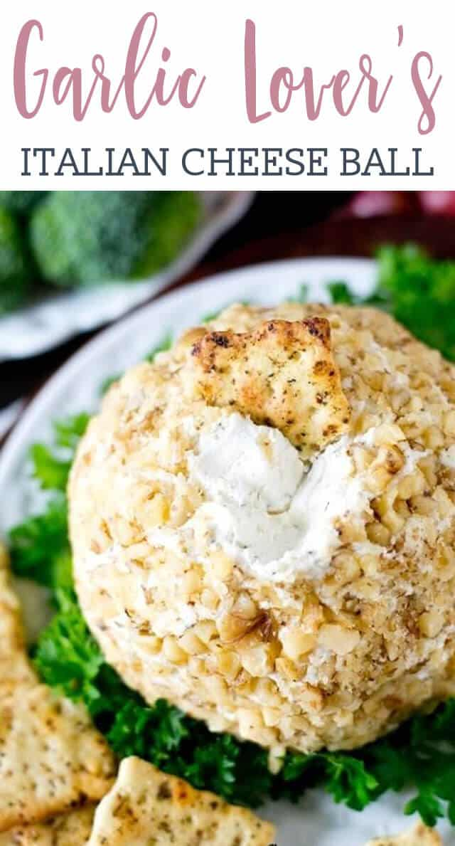 This Garlic Cheese Ball pairs perfectly with Italian herb crackers for a simple, 5 minute appetizer that is full of garlic and Italian cheese flavors. It will be one of your party favorites for holiday entertaining.