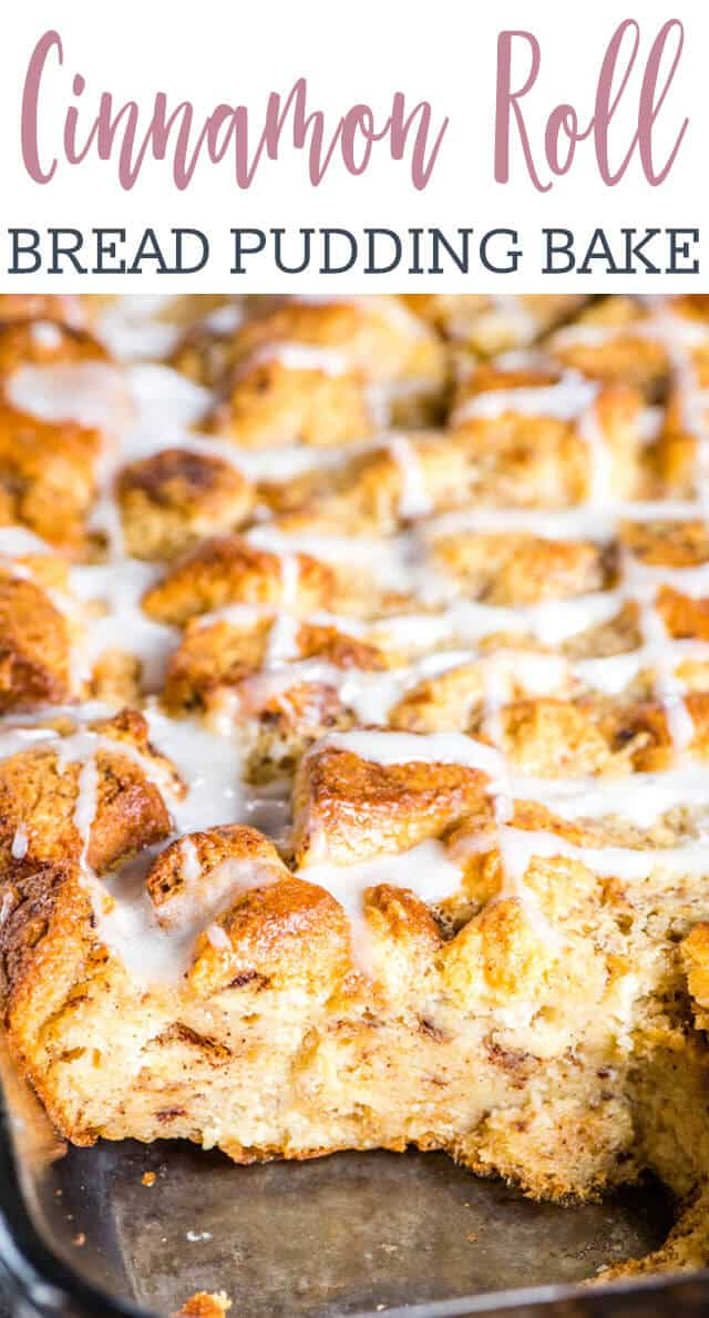 Whip up this easy cinnamon roll bread pudding in no time at all. Prepare the cinnamon rolls the night before and it will only take a few minutes to mix up the next morning. #breakfast #brunch #casserole #cinnamonroll via @tastesoflizzyt