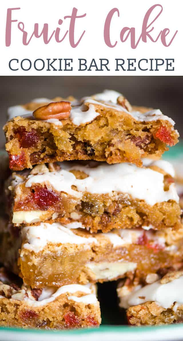 stack of fruit cake cookie bars on a plate