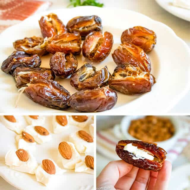 cut dates on a plate with cheese and almond