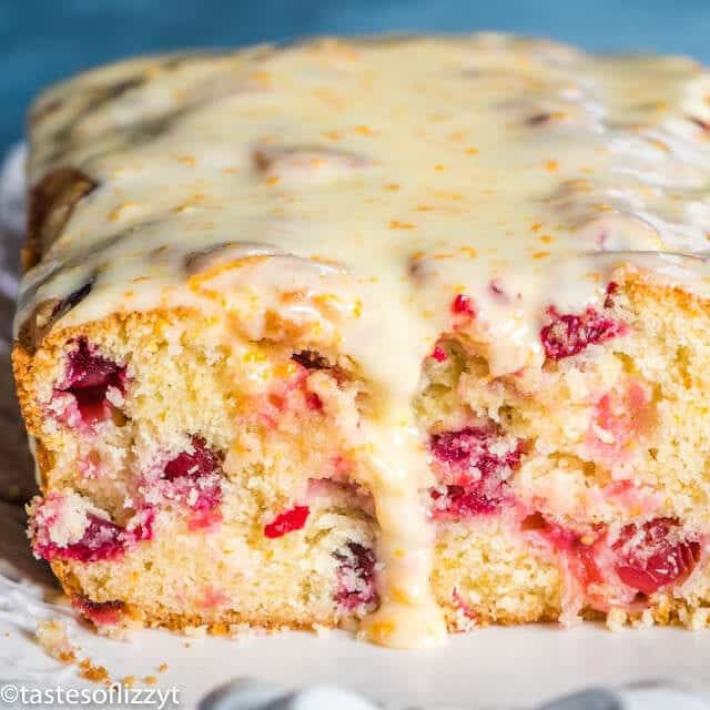 loaf of glazed cranberry orange bread