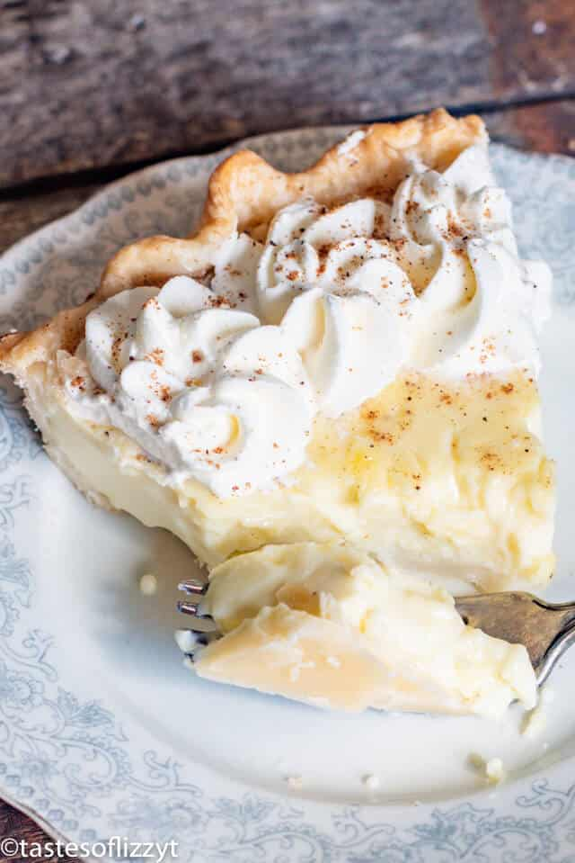 piece of custard pie on a plate